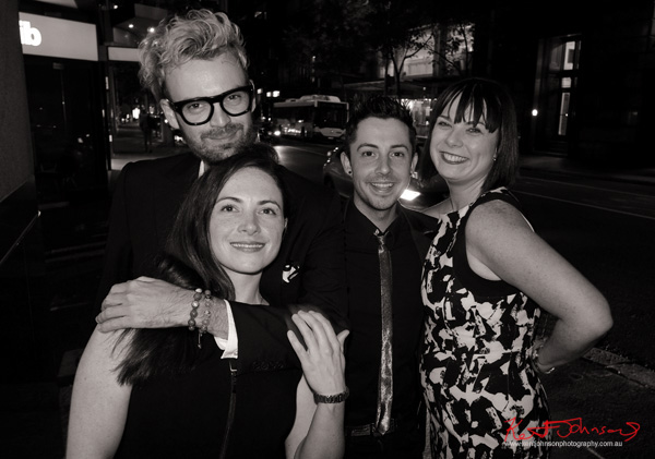 Christopher Haggarty and friends after the Fairfax and Roberts, Shamballa Jewels Equality Bracelet launch party. Photographed by Kent Johnson.