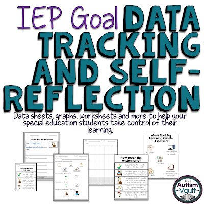 IEP Gaol Data Tracking and Self-Reflection for Autism and Special Education....Help your special educations students learn to reflect on their learning and keep track of their IEP goals.