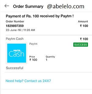 Paytm Successful Transaction