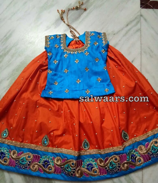 Orange Sky Blue Silk Lehenga