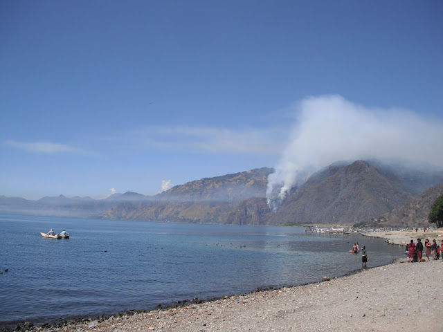 forest fire Lake Atitlan Guatemala