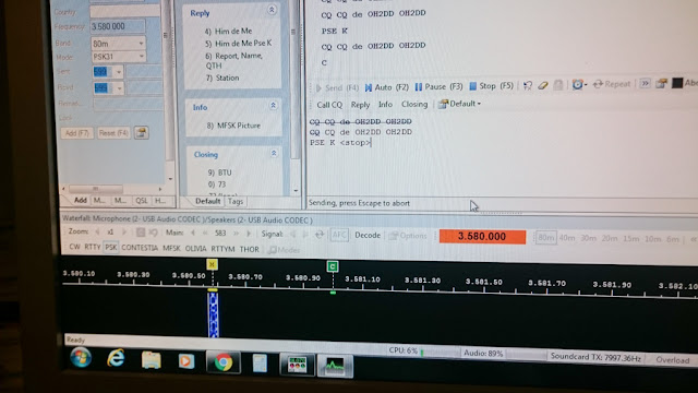OH2DD - lähettämässä PSK31 digimodella omaa kutsua