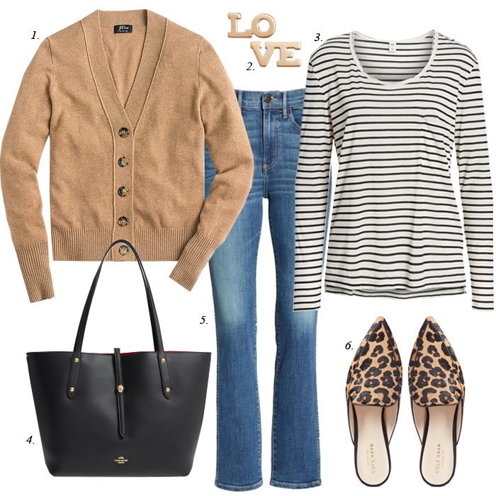 fall outfit leopard flats cardigan