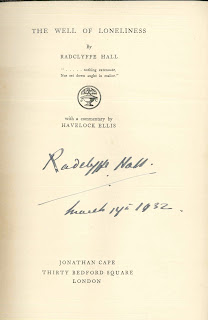 "A title page for ""The Well of Loneliness,"" signed by the author."