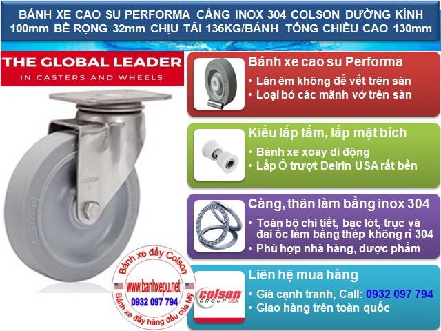 bánh xe cao su tổng hợp colson càng inox lăn không tạo tiếng ồn www.banhxepu.net