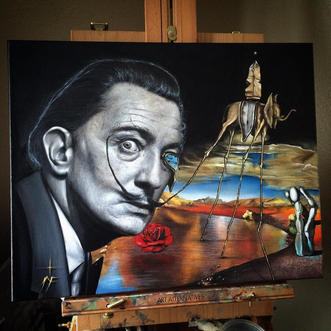 08-Salvador-Dali-Inspired-Piece-Natasha-Farnsworth-Drawings-and-Paintings-Celebrity-Portraits-www-designstack-co
