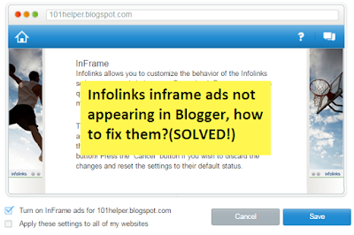how to show inframe ads infolinks in blogger