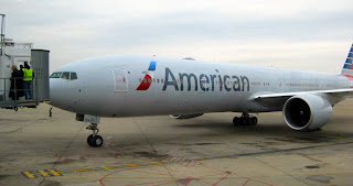 American 777-300ER with new livery at Tulsa, Oklahoma airport