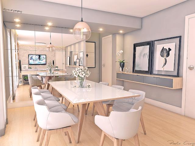 Blog Achados de Decoração, Paola Cury, sala de estar e jantar cinza claro
