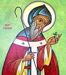 Imagen de San Patricio con un trebol a color