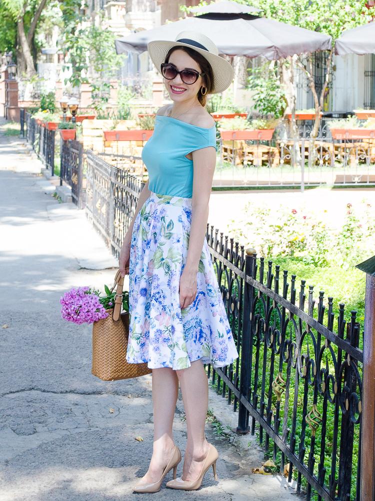 diyorasnotes floral midi skirt asos blue top 11 - LOOK OF THE DAY: FLORAL PRINT MIDI SKIRT
