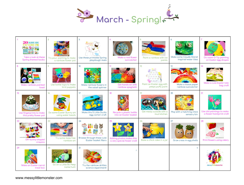 A Spring themed clickable activity calendar for March filled with 31 ideas of things to do with toddlers and preschoolers. Easy art and craft activities for kids.