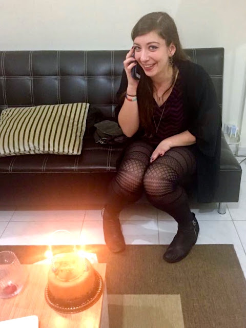 Birthday cake while on the phone