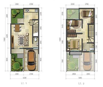 denah rumah minimalis ukuran 5x11 meter 3 kamar tidur 2