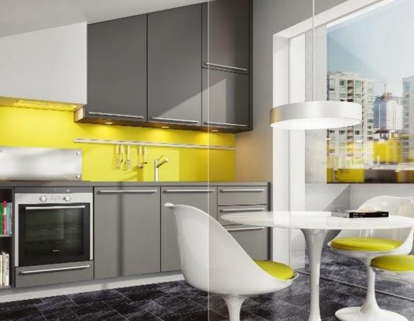 cocina colores amarillo y gris
