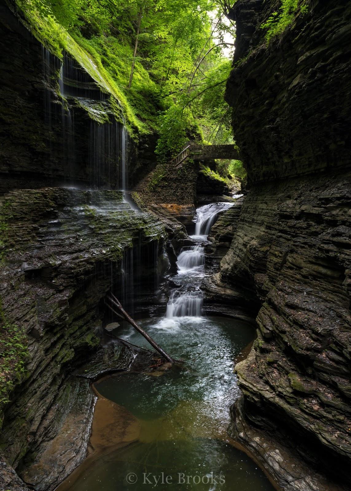 Watkins Glen State Park Rainbow Falls and Triple Falls