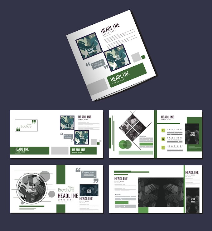 Brochure templates simple modern layout leaves decor Free vector