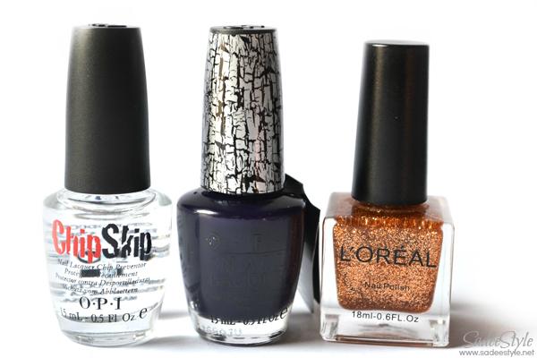 Navy shatter nail polish, chipskip and loreal glitter nail polish Review
