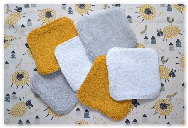 lingettes tissu éponge jaune, gris, blanc