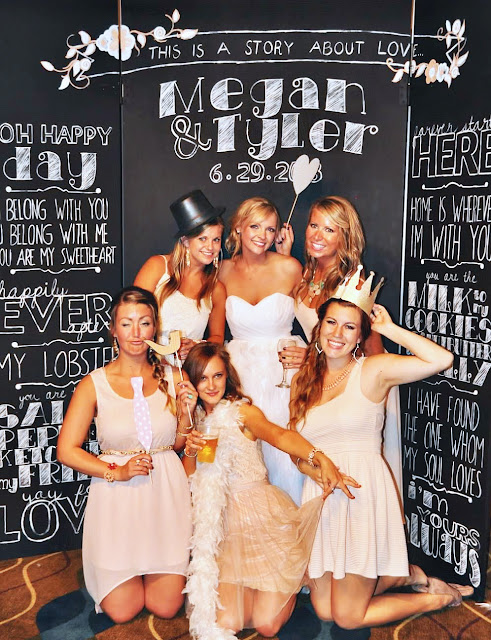 the bride and her bridesmaids portraits in Invitation Backdrop | DIY Photo Booth Ideas For Your Next Shindig