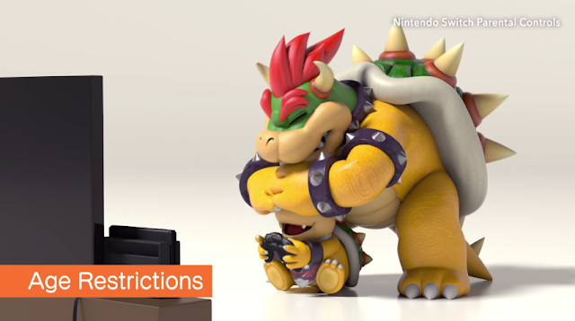 Nintendo Switch Parental Controls Age Restrictions Bowser covering Bowser Jr.'s eyes blocking protecting