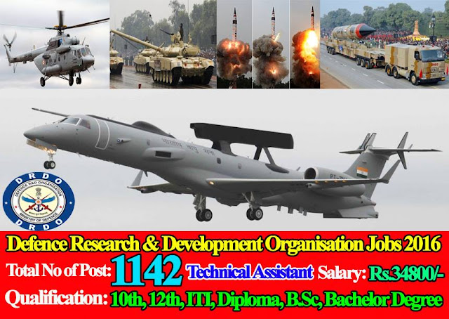 Defence Research & Development Organisation (DRDO) Recruitment 2016 1142 Posts