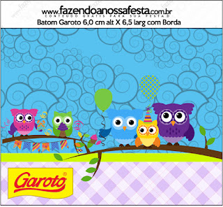 Búhos de Colores: Etiquetas para Candy Bar de Fiesta de Quince Años para Imprimir Gratis.