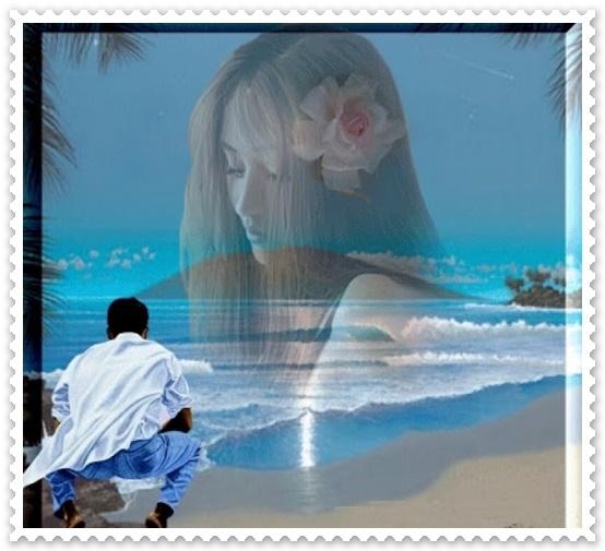 Um jovem agachado contemplandouma paisagem do mar, imaginando um perfil de uma linda jovem nas nuvens.