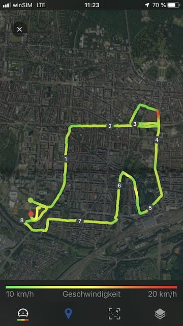 Aufzeichnung der Streckenführung der Badischen Meile per Satellitenbild