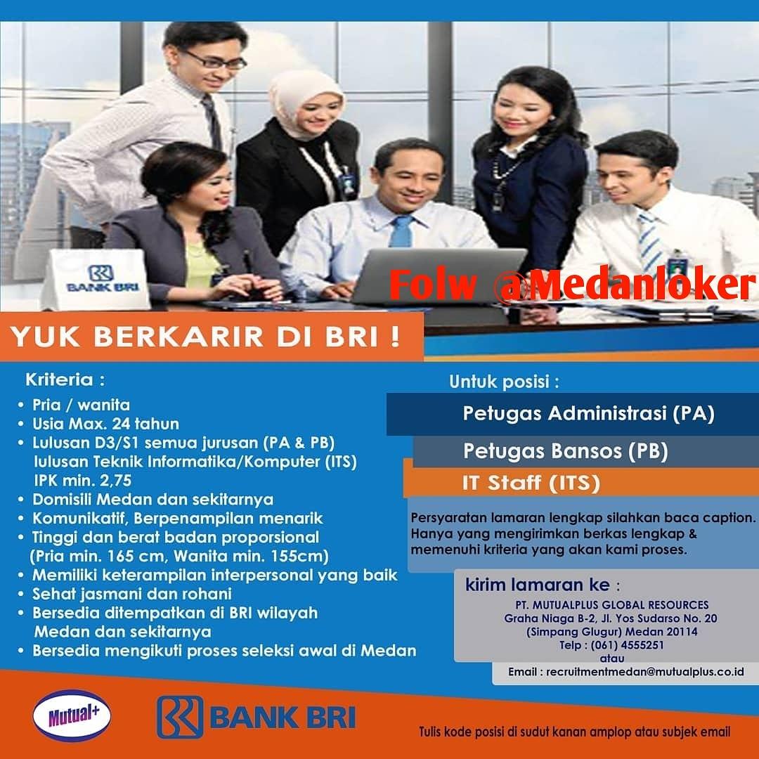 Lowongan Kerja Medan Bank Bri Mutualplus Medan Medanloker Com Lowongan Kerja Medan