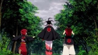 Bracia Kumo stojący plecami do widza, anime Donten ni Warau