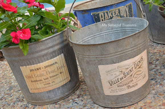 tutorial for adding vintage inspired labels to buckets