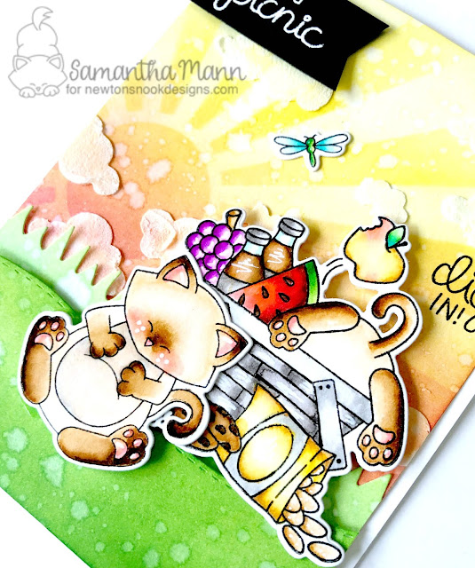 Life's a Picnic Card by Samantha Mann for Newton's Nook Designs, Distress Ink, Embossing Paste, handmade cards, Zig Clean Color Real Brush Markers, #newtonsnook #distressink #inkblending #handmadecards