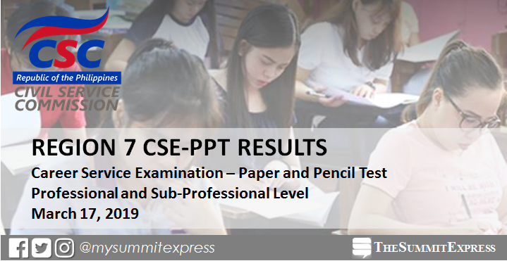Region 7 Passers: March 2019 Civil service exam (CSE-PPT) results