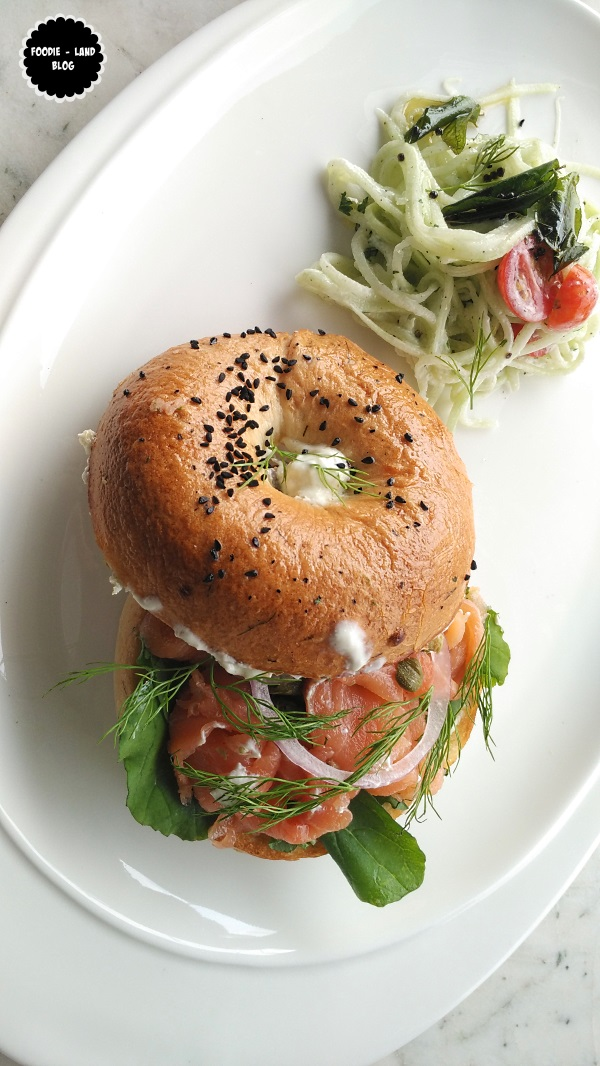 House Cured Salmon on onion & dill bagel @ The Cafe Felix Experience | MG Road | Bangalore