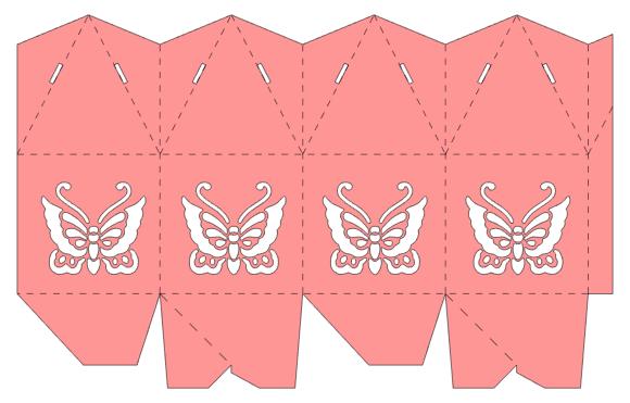 Caja piramidal con mariposa.