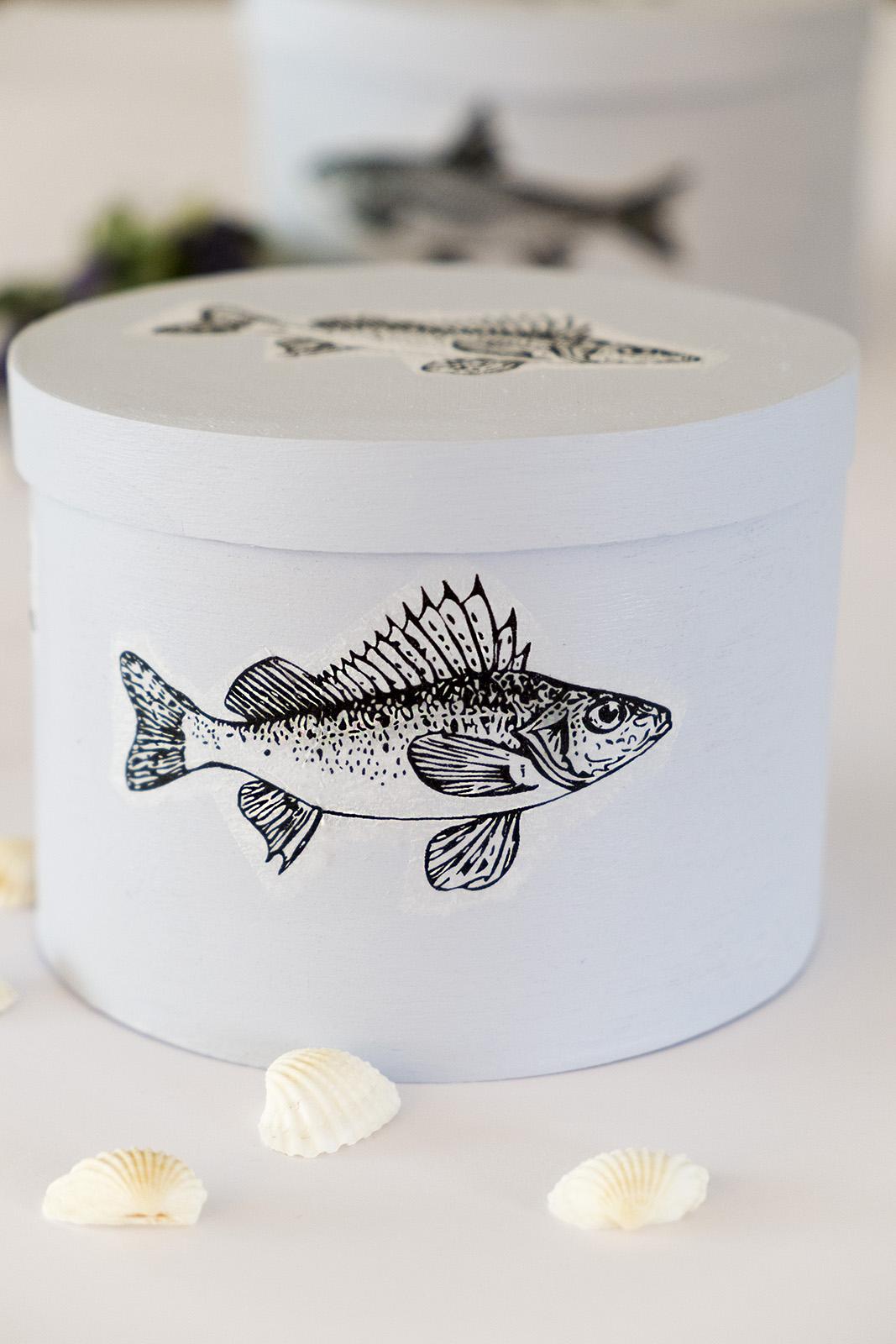 decoratie dozen met vissen, decoupage.