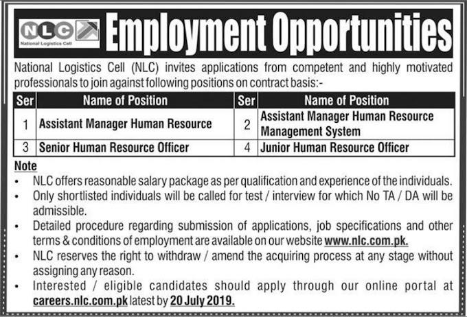 National Logistic Cell NLC Jobs 2019