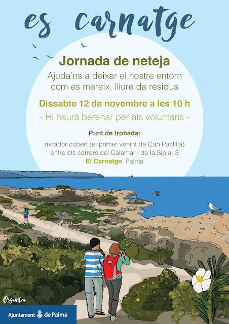 Cartel de la jornada de limpieza de Es Carnatge, Palma de Mallorca