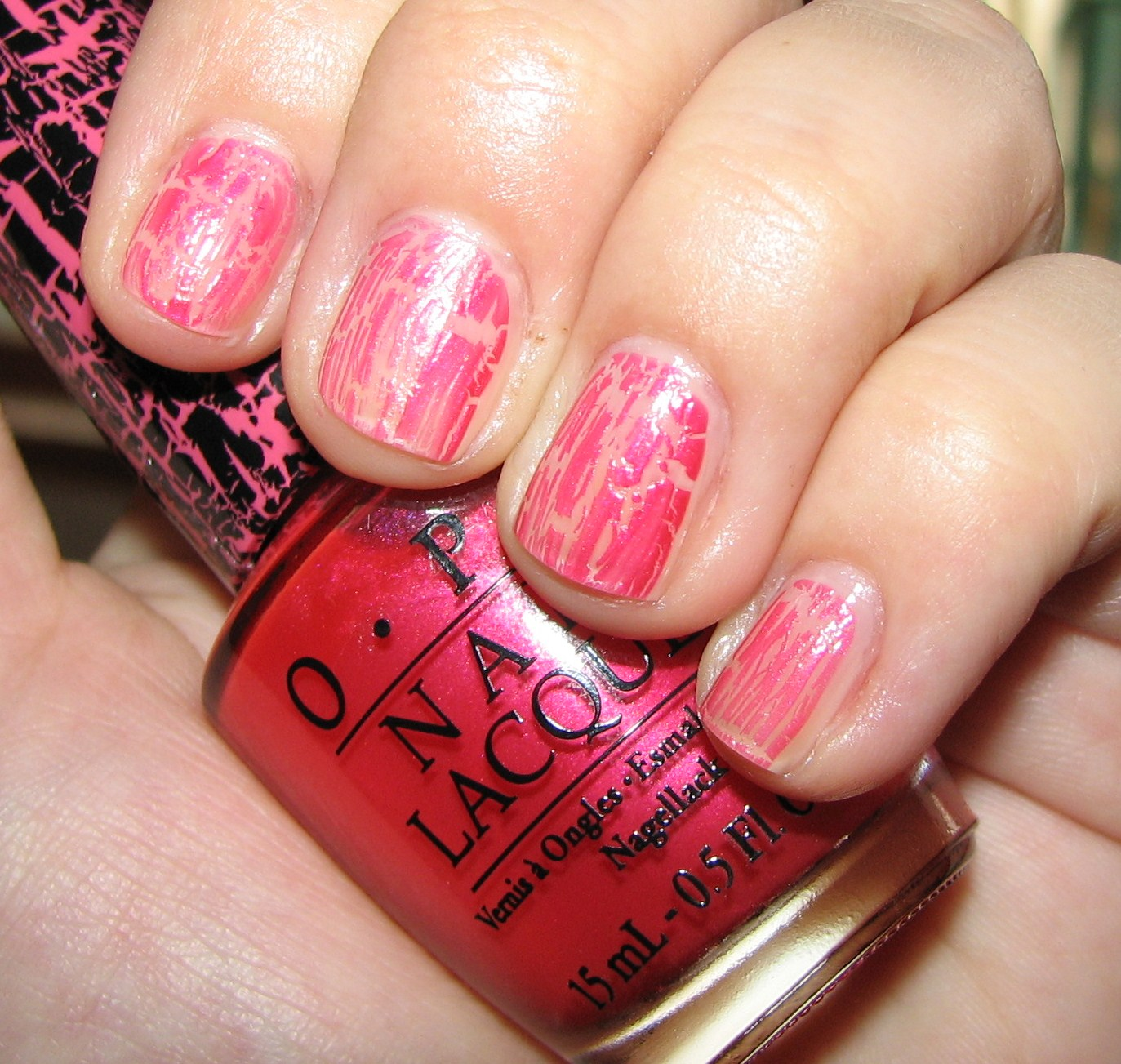 OPI Pink Shatter Nail Polish Swatches and Review - Blushing Noir