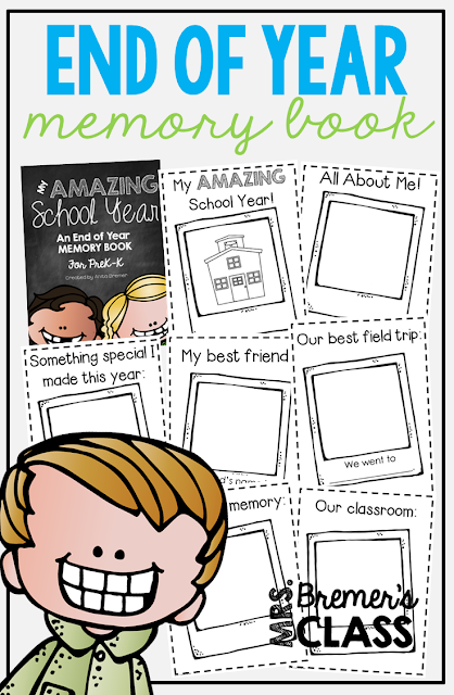 End of School Year memory book for Pre-K - Kindergarten! Students can reflect on their year and its highlights. Makes a special keepsake! #endofyear #memorybook #kindergarten #prek
