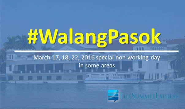 Palace declares March 17, 18, 22, 2016 holiday in some areas