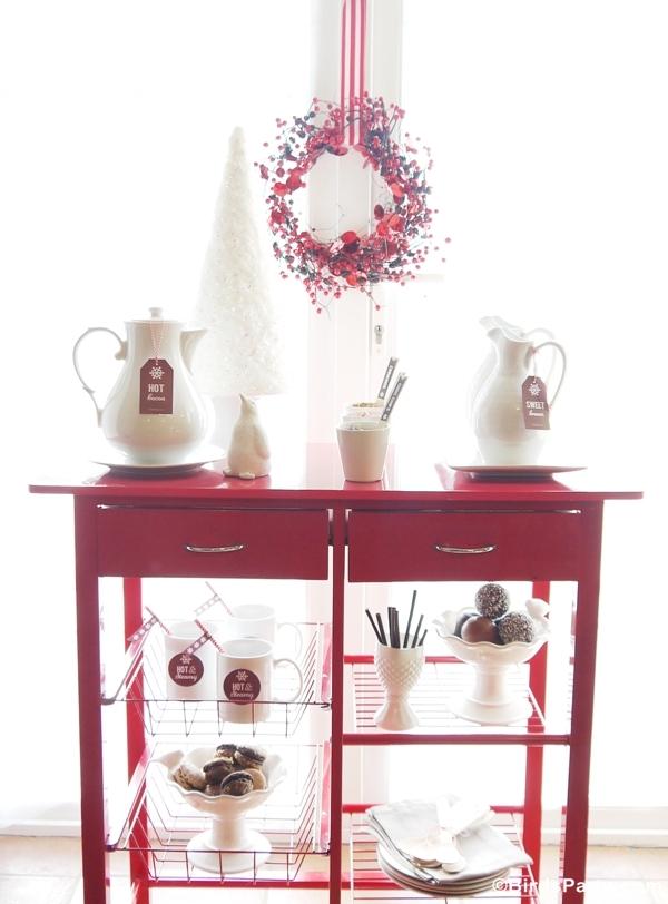 Quick and Easy Holiday Hot Cocoa Bar Cart - BirdsParty.com