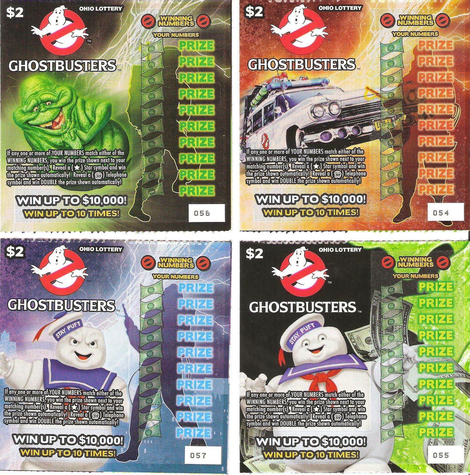 Wonderful Wonderblog: Ghostbusters Ohio Lottery Instant Tickets