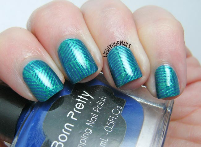 Teal geometric nail art feat. TNS Drinks & Cocktails and stamping plate BPX-L020