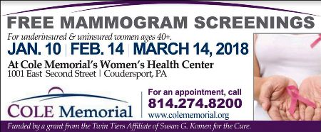 1-10/2-14/3-14 Free Mamograms