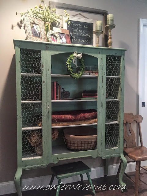 Old Hutch turned Shabby Chic Storage from Fern Avenue