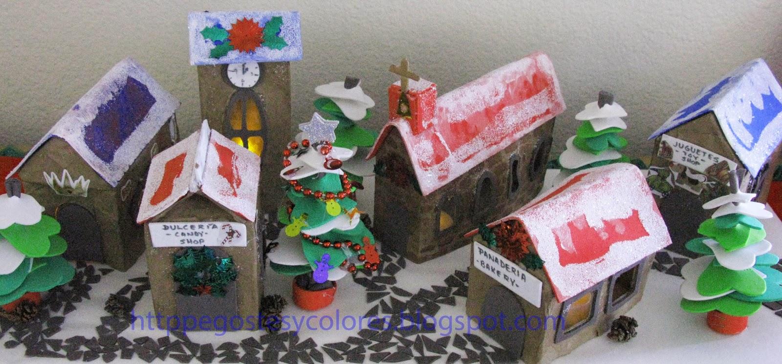 Pegostes y colores aldea de navidad de papel mache y foamy - Casitas de nacimientos de navidad ...
