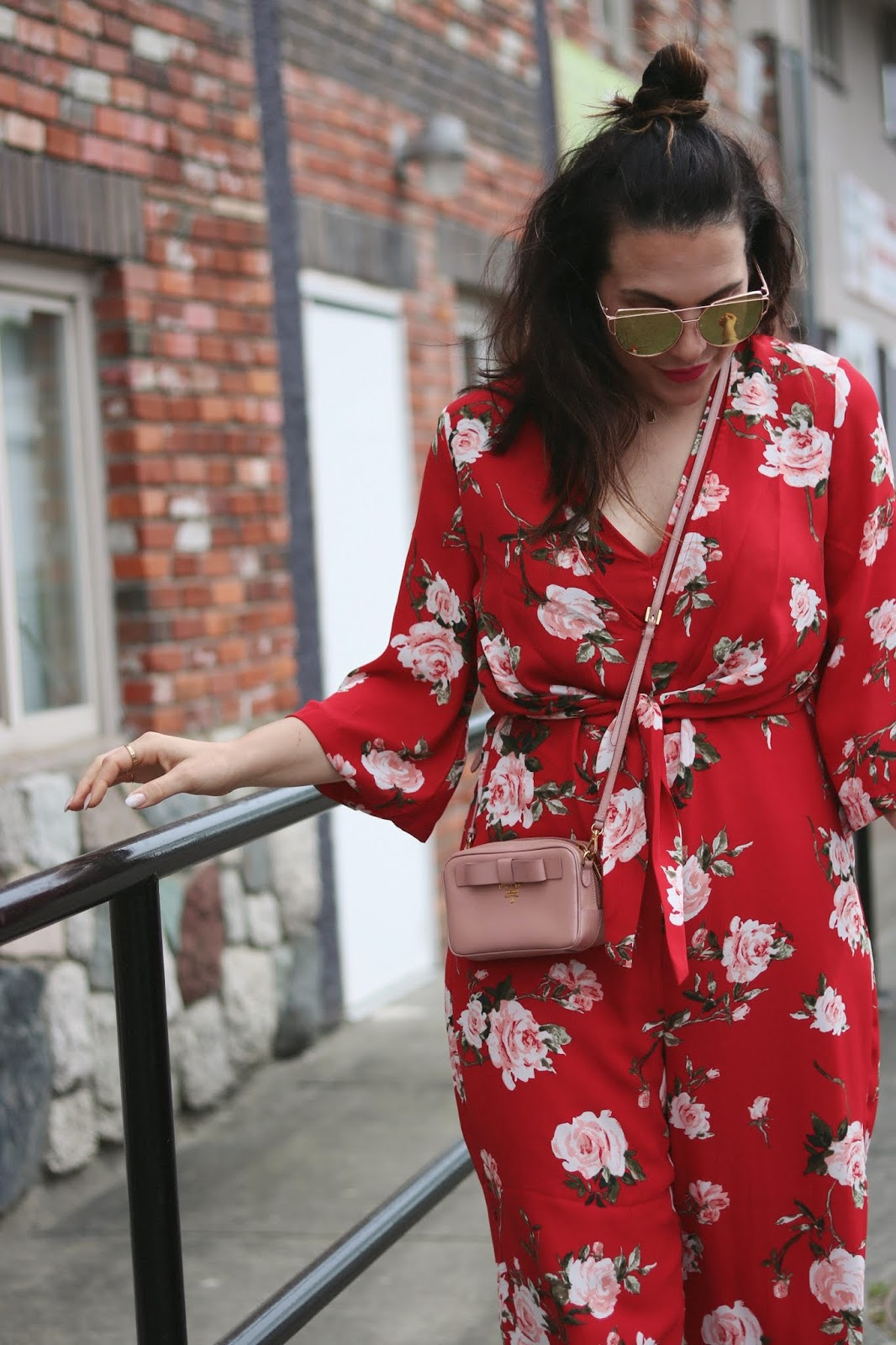 floral jumpsuit dynamite red outfit mini prada bag vancouver blogger