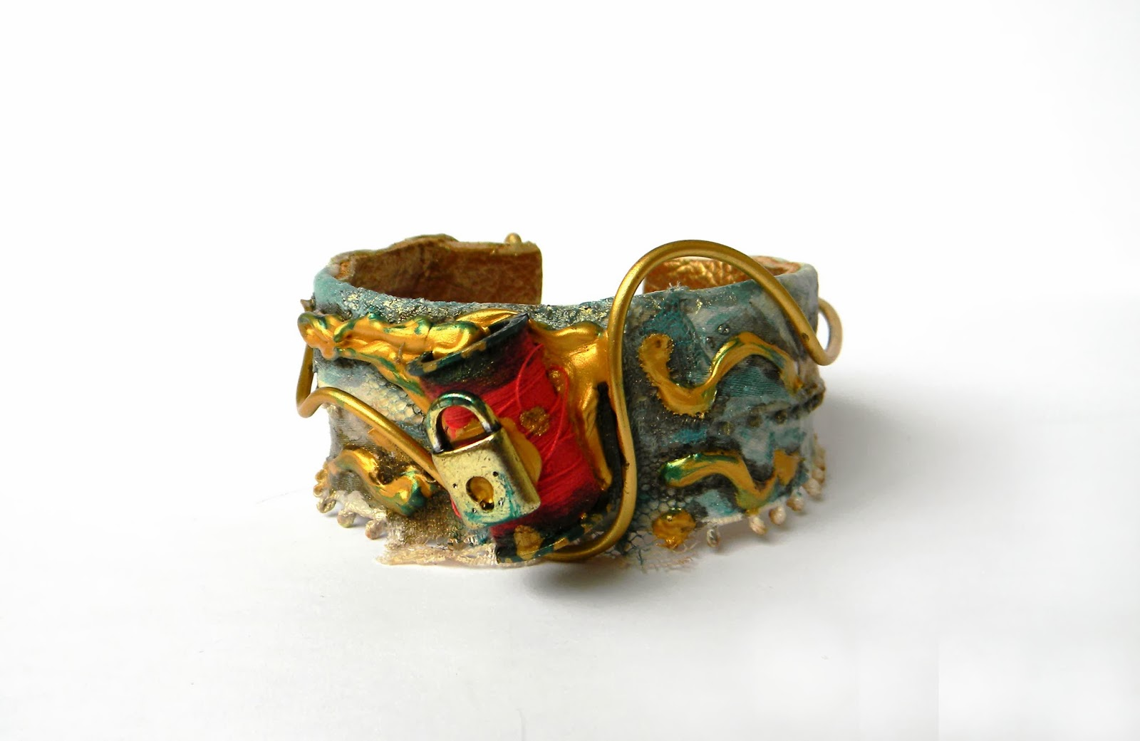 Hand Painted Circle Bracelet Wrist Cuff with Charm and Golden Brass Wire